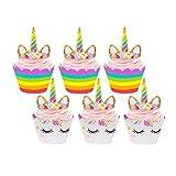 Tumao Einhorn Cupcake Toppers 24 Stücke, Unicorn...