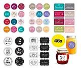 46x Sticker Aufkleber Ø 5-8 cm Etiketten...
