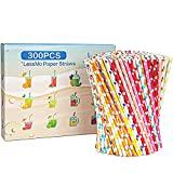 LessMo 300 PCS Papiertrinkhalme Biologisch...