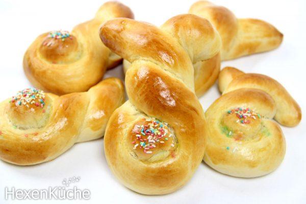 Osterhäschen aus süßem Hefeteig