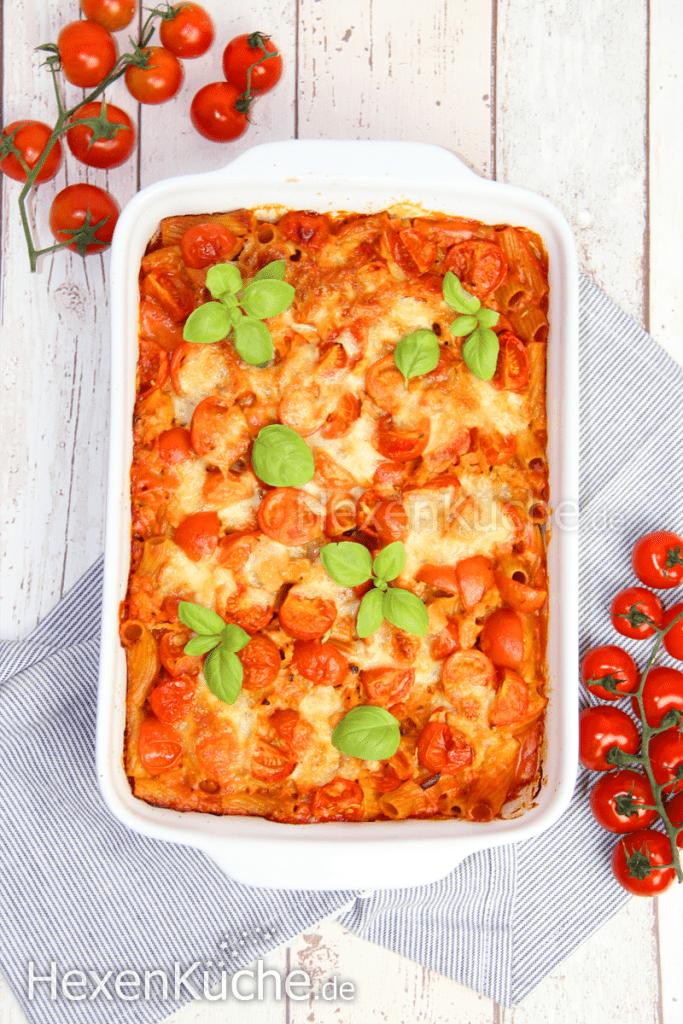 Nudelauflauf Tomate-Mozzarella | Vegetarisches Gericht aus dem Thermomix